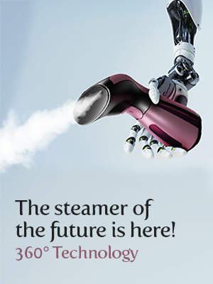 iSteam Steamer for clothes next to a robot
