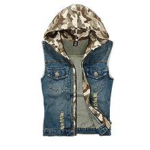 Men's Camo Ripped Denim Vest Retro Stitching Outdoor Sleeveless Jacket