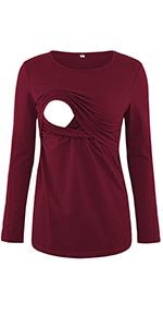 Cotton Long Sleeve Nursing Shirt