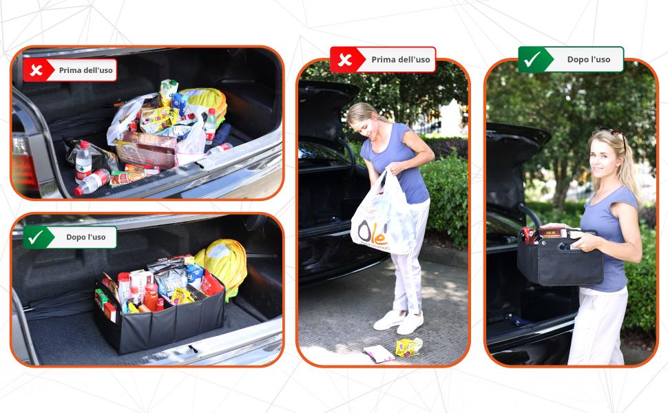PORTABAGAGLI auto organizer pieghevole BAGAGLIAIO-Borsa Gadget universale pieghevole-BOX
