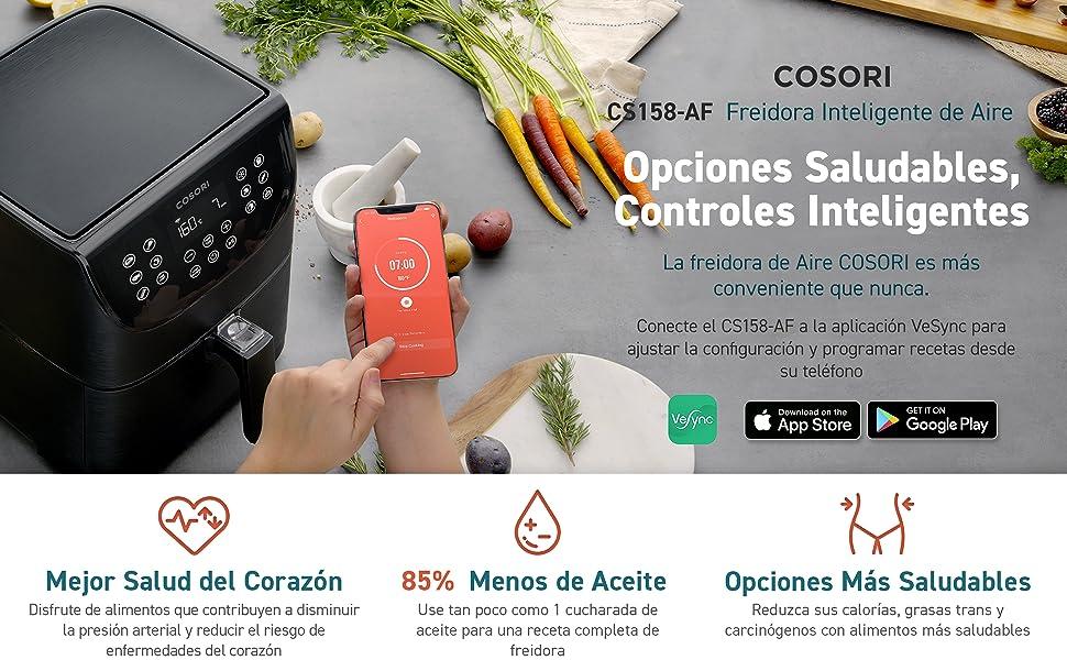 COSORI Freidora sin Aceite Inteligente WiFi 5.5L, Freidora Aire con 11 Programas, Función Mantener Caliente, Pantalla LED Táctil, Temporizador, Sin ...