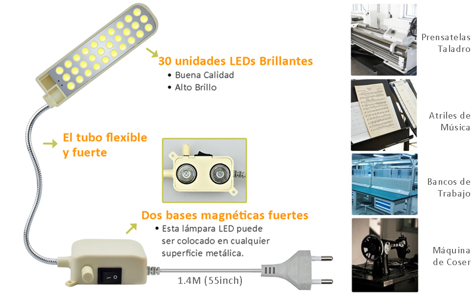 Bonlux 2W 30 LEDs 200LM Luz Regulable Lámpara Flexible LED para Máquina de Coser, LED Iluminación de trabajo taller, trabajos artesanales o manuales (Luz Fría 6000K, Con EU Enchufe): Amazon.es: Iluminación