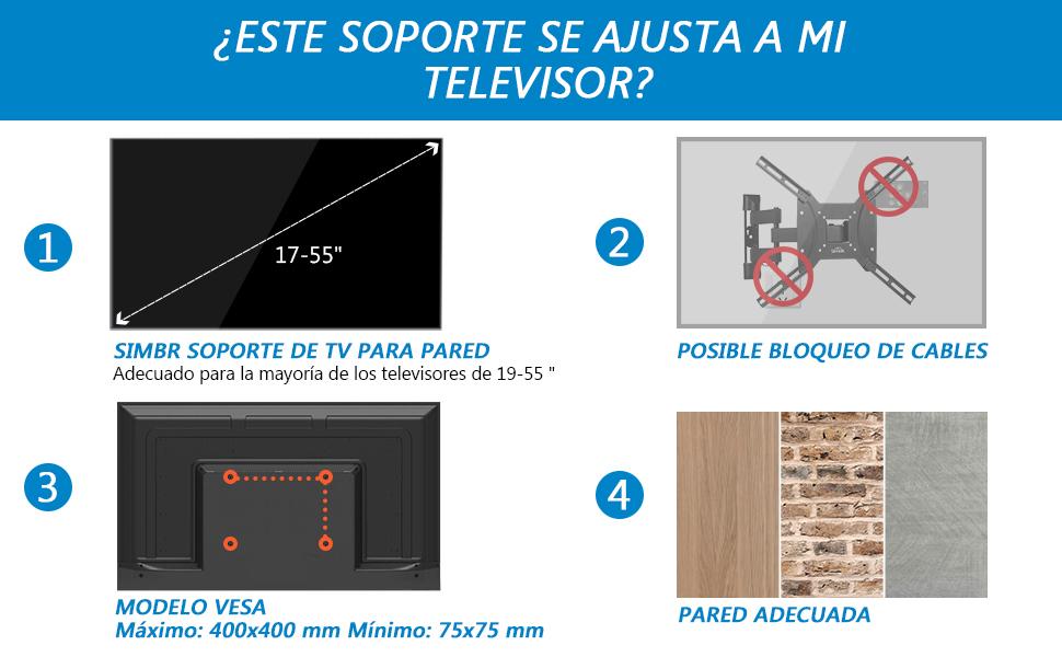 SIMBR Soporte de Pared para Televisores de 17
