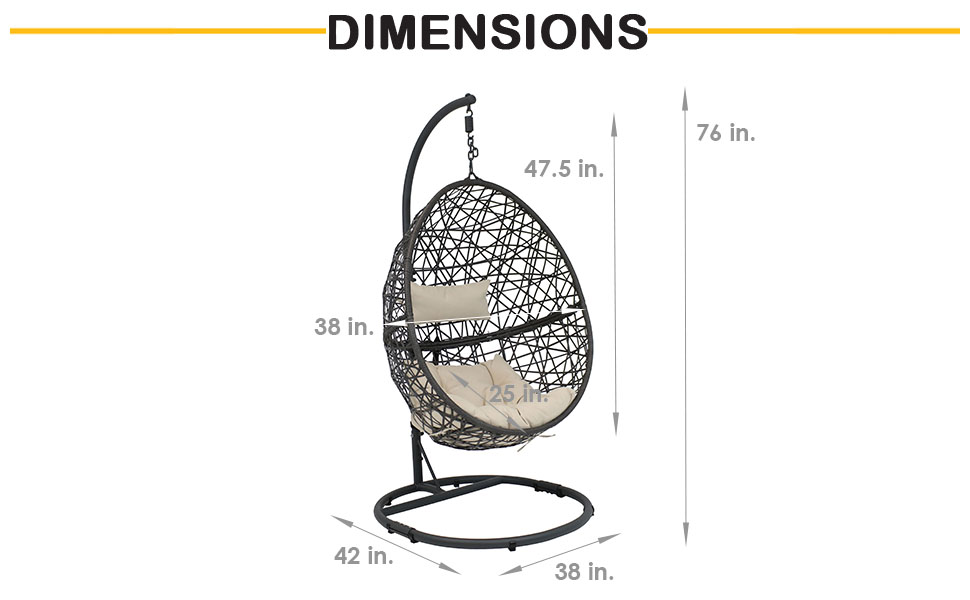 dimensions of egg chair set