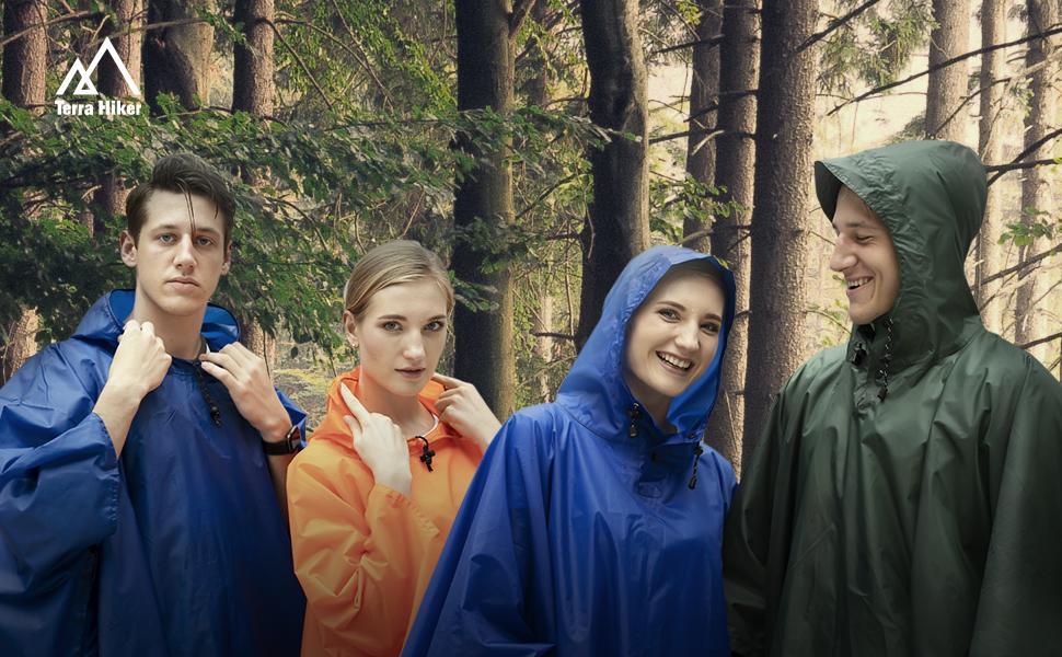 Regenponcho Rainponcho orange transparent Festival Wandern Outdoor Trekking