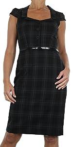 Ladies Vintage Office Slim Fit Tartan Lined Belted Short Sleeve Bodycon Dress