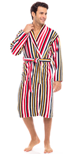 Men's Luxury Robes 100% Terry Cotton Shawl Collar Bathrobe Multi Color Striped Spa Robe Bath Robes