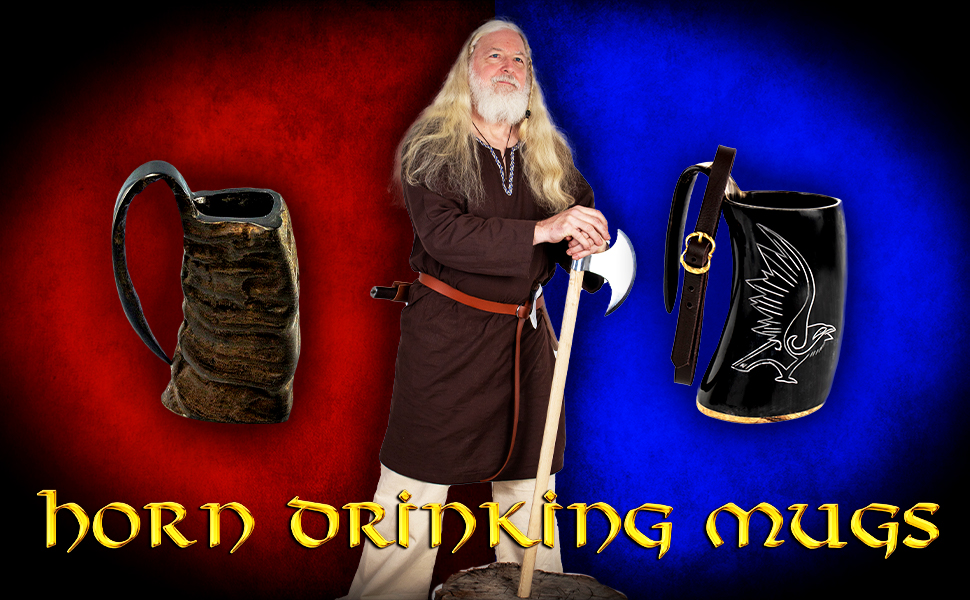 Mythrojan WOW  reenactment drinking horn mug LARP knight medieval D&D renaissance Viking renfair