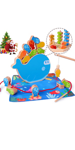 4 in 1 Wooden Magnetic Fishing Game Montessori Stacking Game and Beaded Sorter Toys Fine Motor