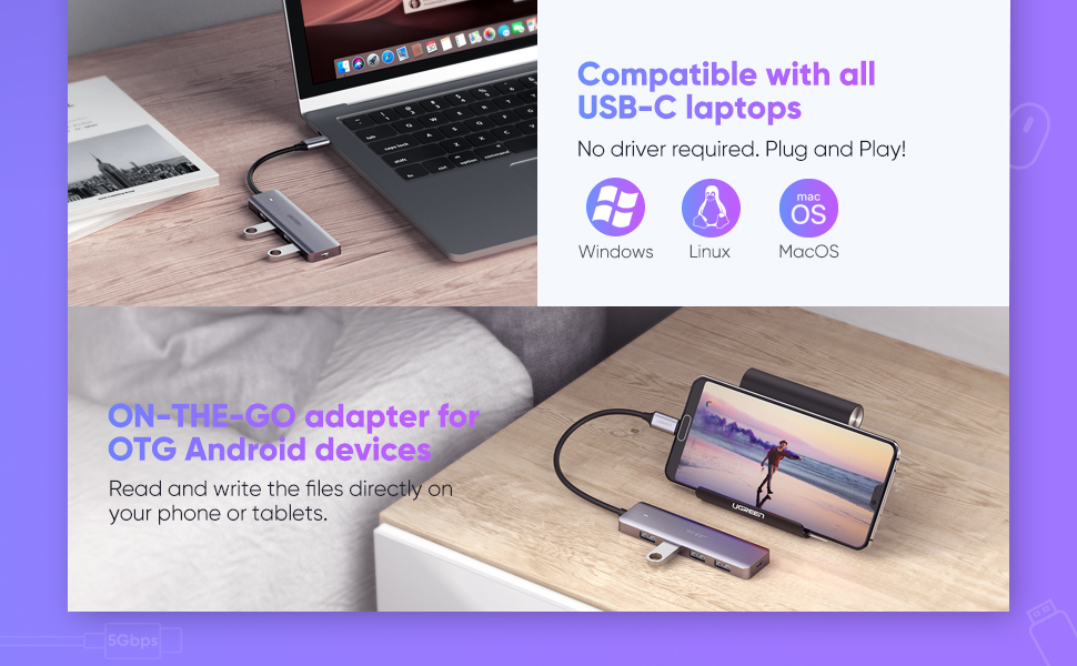 UGREEN Usb C Hub 4 Ports Usb 3.1 Type C To Usb 3.0 Hub Adapter