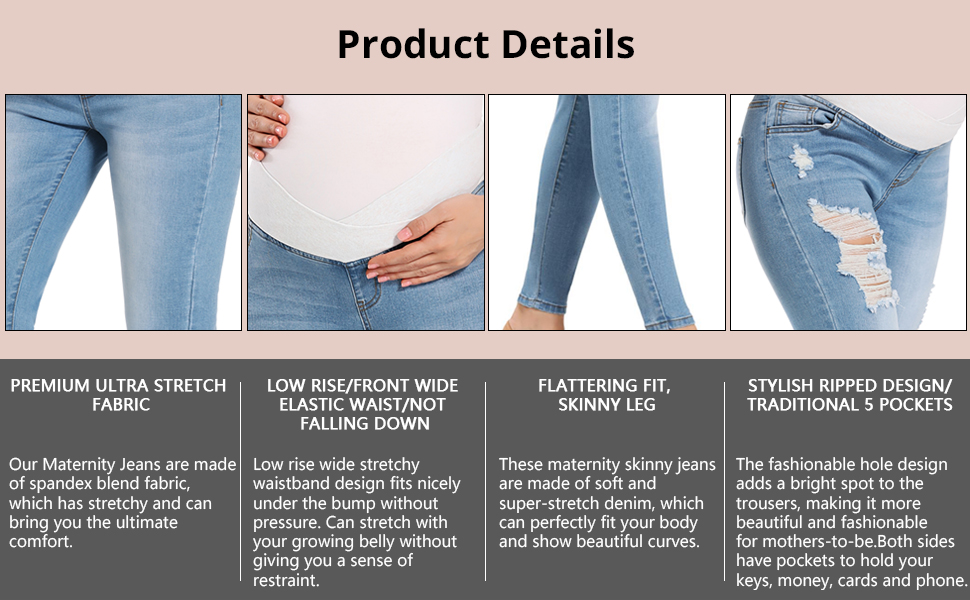 Maternity Foucome Womens Maternity Jeans Underbelly Skinny Jeggings Cute Distressed Jeans Comfy Stretch Pants Clothing Shoes Jewelry Rdtech Co Rw