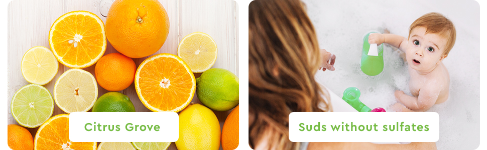 Puracy Natural Baby Shampoo & Body Wash - Citrus Grove & Suds without sulfates