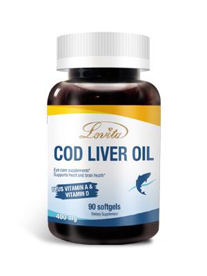 Lovita Cod Liver Oil 400 mg, Omega 3 with Vitamin A & Vitamin D3, Norwegian Cod Liver Oil, Rich in EPA and DHA, Heart & Brain Health, 90 Softgels (1 Month Supply)