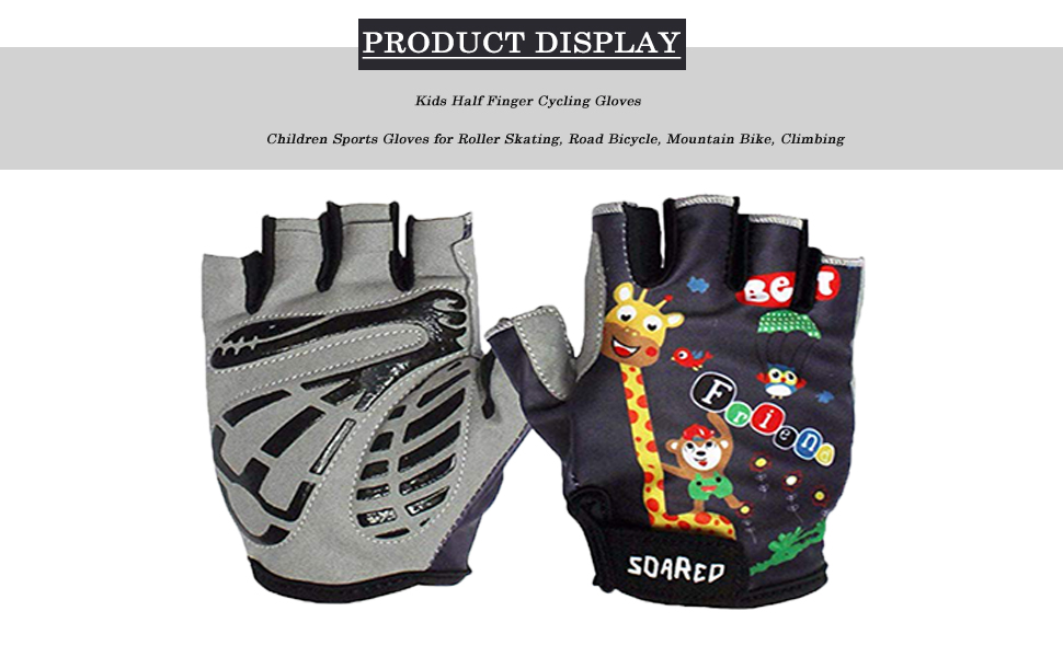 Climbing Children Sports Gloves For Roller Skating Mountain Bike Gogokids Kids Half Finger Cycling Gloves Road