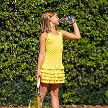 Yellow frills tennis dress