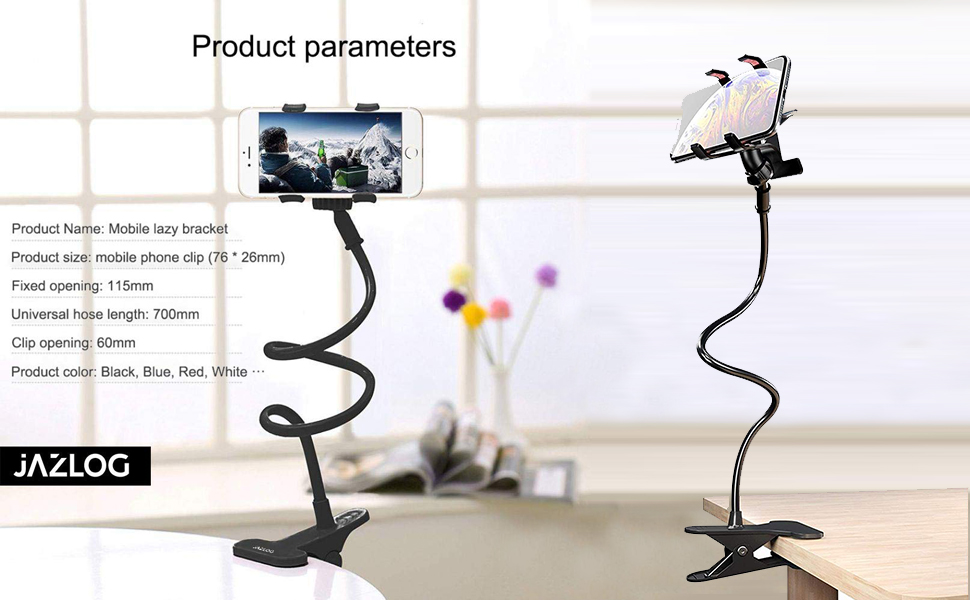 long neck phone holder stand mount dual clip hard plastic metal alloy