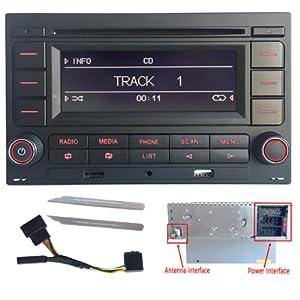 SCUMAXCON Radio de coche estéreo de audio RCN210 for para VW Golf MK4 POLO Passat B5 USB MP3 AUX SD Bluetooth incorporado con reproductor de CD + ...