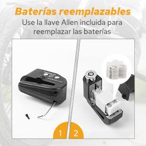 Baterías fáciles de reemplazar
