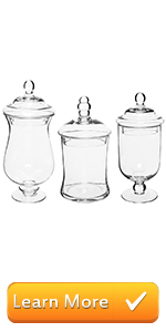 Small Clear Glass Storage amp; Display Canisters/Wedding Buffet amp; Apothecary Jars