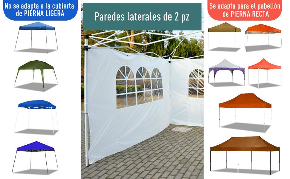 Outsunny 2 Paredes Parte Laterales para Carpa 3x2 Lado Parasol de Gazebo Tela Oxford con Ventana Medidas Apto para 3x3 3x6 Blanco