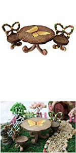 Fairy garden mini table chairs set tools supplies accessories