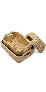 Set of water hyacinth baskets for bathroom