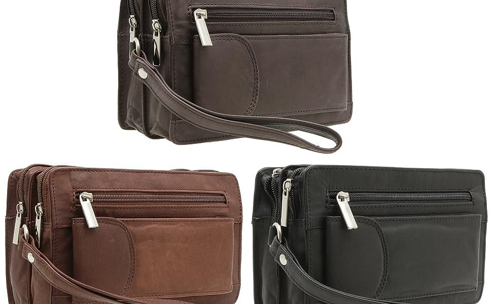 Bolso de mano para hombre de piel auténtica, bolso de mano de viaje, pequeño bolsillo para documentos