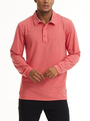 men's outdoor long sleeve polo hiking shirts lightweight pocket workout