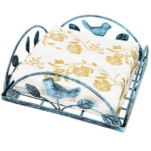 Turquoise Cast Iron Bird amp; Tree Tabletop Napkin Holder Caddy