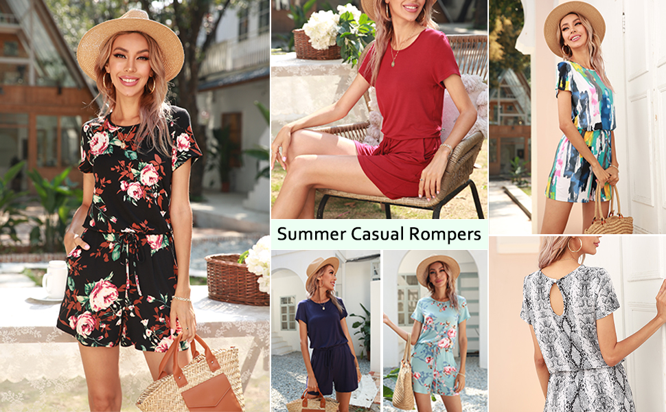 floral summer casual short jumpsuit rompers for women