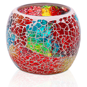 Portavelas Sobremesa. Vaso de Cristal 1 Portavelas Decorativo de Rat/án Decoraci/ón Natur