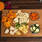 Versachp Duo 18 inches 12 organic bamboo cutting board with steel bowls housewarming holiday gift