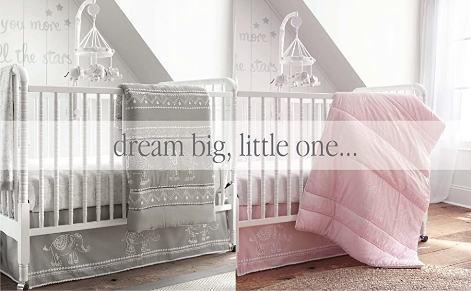 baby ely set grey and pink elephants baby room