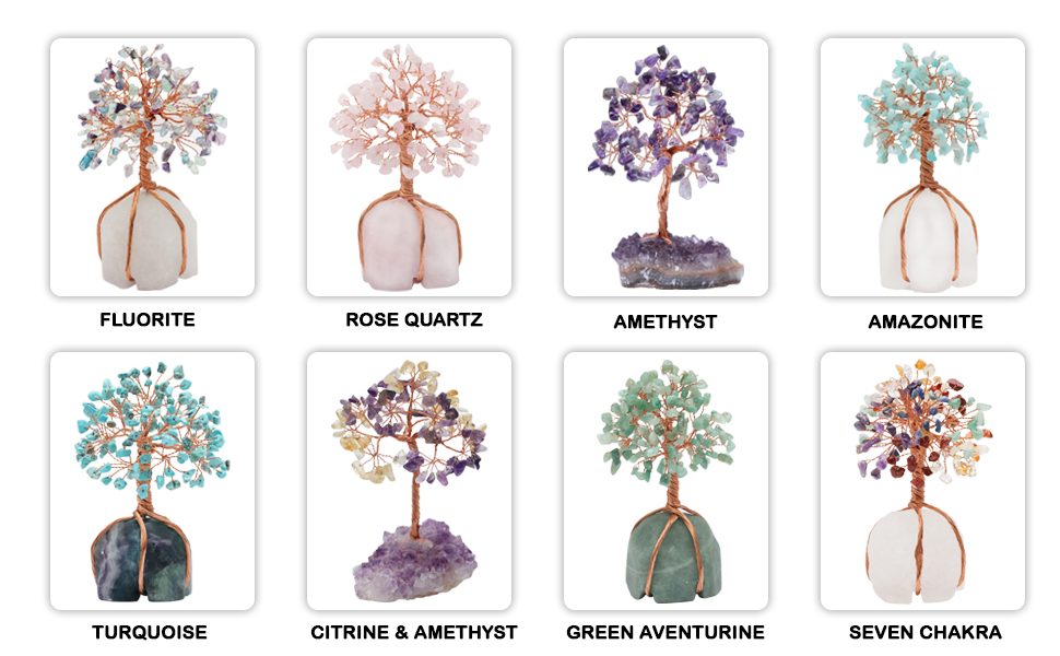 amethyst fluorite citrine seven chakra amazonite turquoise green aventurine jade rose clear quartz