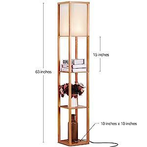 Brightech Maxwell - LED Shelf Floor Lamp - Modern Standing Light for Living Rooms & Bedrooms
