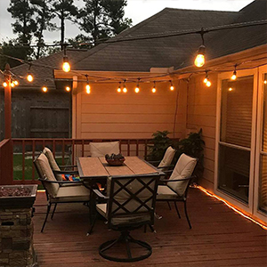48 Feet Led Outdoor String Lights Waterproof Patio Lights With 15 Shatterproof Bulbs Commercial Hanging Lights For Backyard Porch Bistro Party 2w Ul Listed Warm White Amazon Com