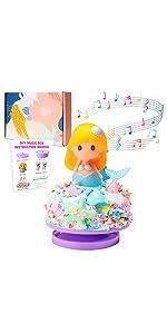 WATINC DIY Music Box Kit Mermaid Theme Art Craft