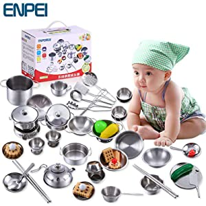 a colander, Stainless Steel play pots and pans with Lid and Handles, 4 Stainless Steel