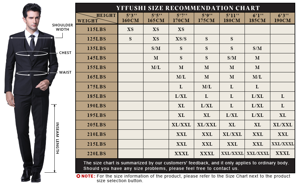 The size chart of this suit mens 3 piece slim fit suits size recommendation chart size information