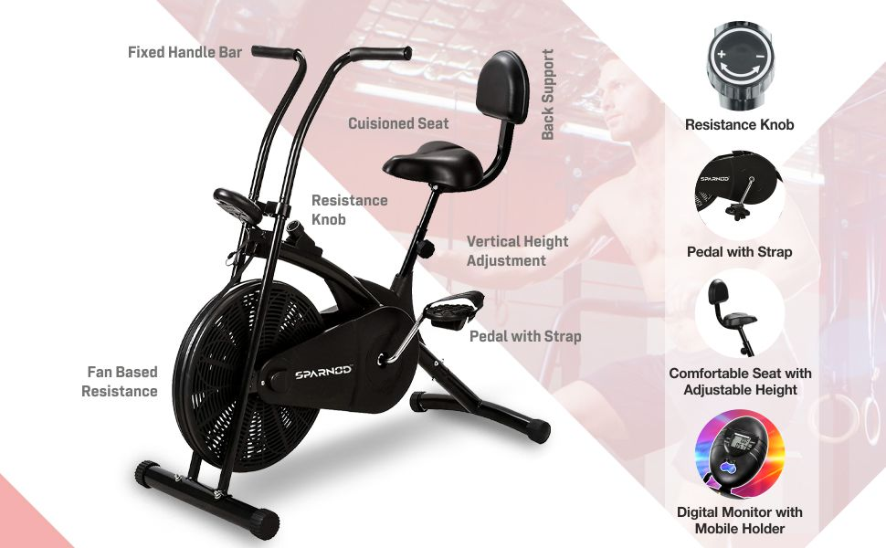 Sparnod Fitness SAB-03 Air Bike Exercise Cycle for Home Gym
