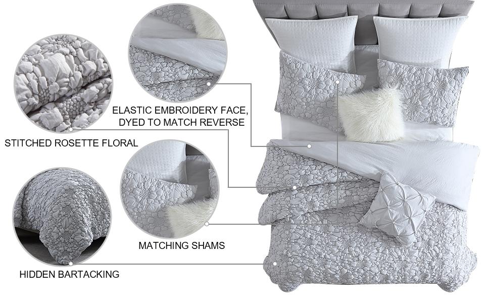Hana Rosette Floral 2-Piece Comforter Set with Matching Sham