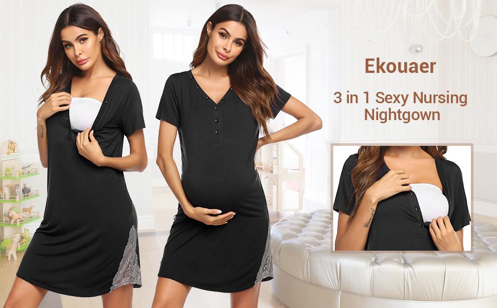 Ekouaer Womens Delivery//Labor//Maternity//Nursing Night Dress Pregnancy Nightgown for Breastfeeding S-XXL