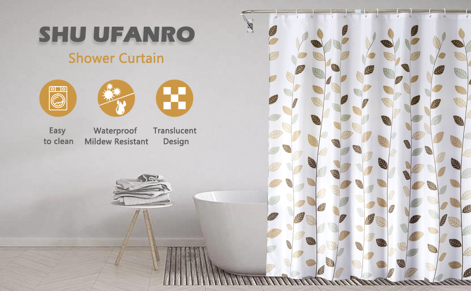 180x200cm Waterproof Pattern Shower Curtain Hooks Polyester Bathroom Fabric ZP