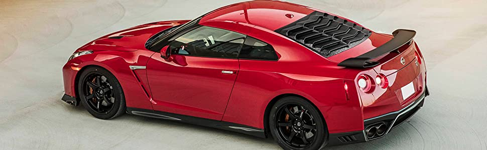 Rear /& Side Window Louver Sports Look Sun Shade Windshield Cover Protector ABS for 2008-2017 Nissan R35 GTR GT-R
