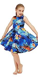 Hawaii Hangover Vintage Hawaiian Girls Flare Dress Matching Patterns Sets