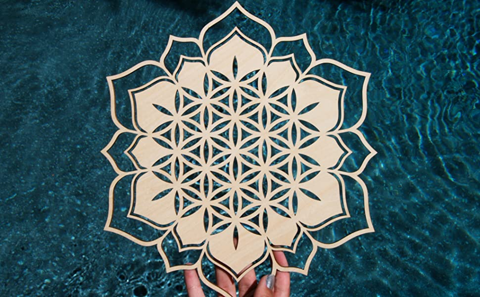 Lotus Torus Flower 4inch Wooden Shape Wooden Sacred Geometry Christmas Decoration Wall Art