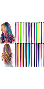 36PCS Colored Clip in Hair Extensions Straight Multi-Color Party Highlights Clip in Rainbow Hair