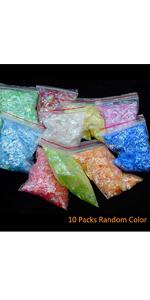10 Pack random color Nail Shell Paper