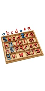 Elite Montessori Wooden Movable Alphabet with Box Preschool Spelling Learning Materials
