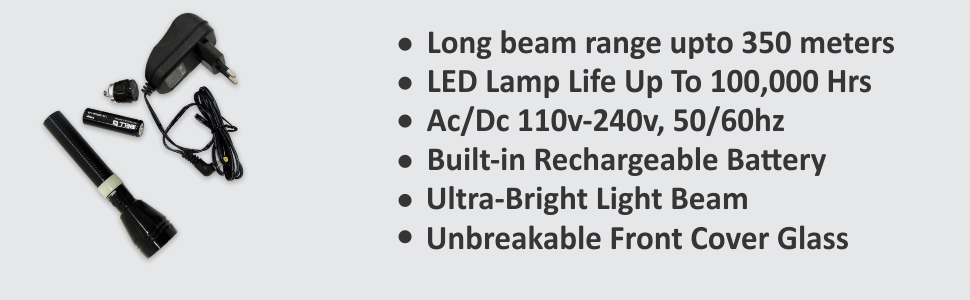iBELL Rechargeable Torch Flashlight,350 Mtrs Long Distance, Aluminium Body Ultra Bright LED Light